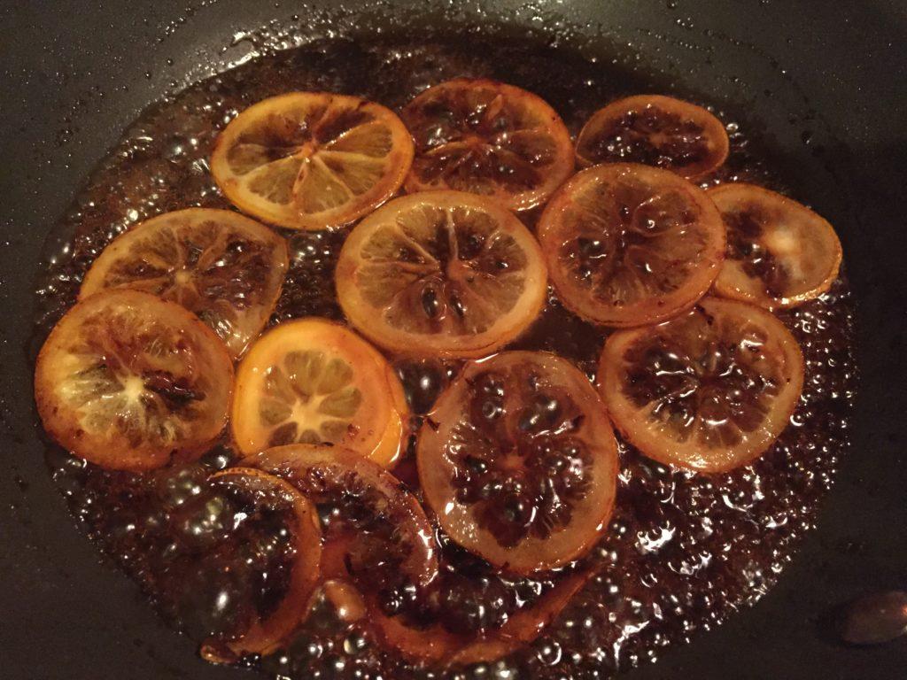 caramelized meyer lemons, part of the recipe for Roasted red beets with Meyer lemon honey glaze